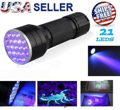 UV Ultra Violet 21 LED Flashlight Mini Blacklight Aluminum Torch Light Lamp NEW - Light Flashlight