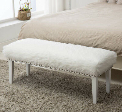 Decorative Ottoman Bench Unsullied Faux Fur Footstool with Nailhead White Wood Legs