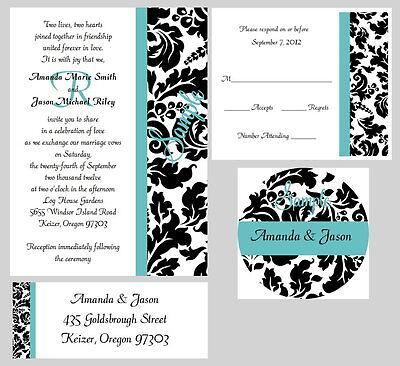 50 Personalized Monogram Stripe Damask Bridal Wedding Invitations Set Any Color  Damask Monogram Wedding Invitation