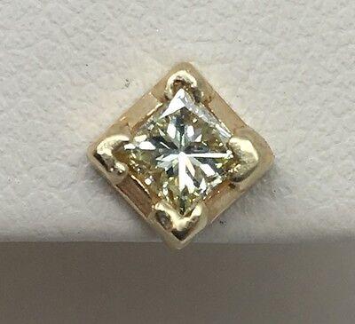 14K YELLOW GOLD  PRINCESS CUT DIAMOND STUD EARRINGS 1/2CTW
