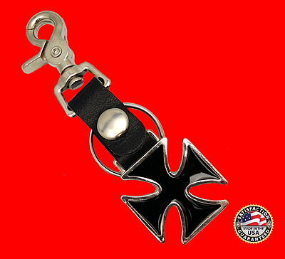 HEAVY DUTY MALTESE CROSS KEY CHAIN FOB WITH BOTTLE OPENER ** MADE IN USA **