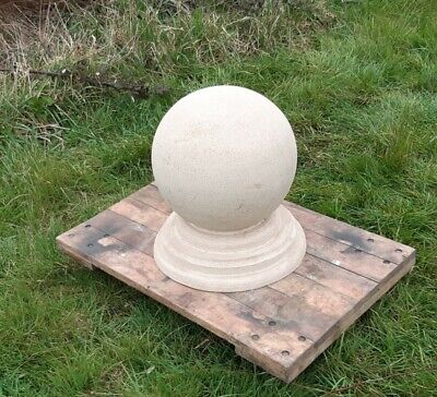 12 inch Cast stone ball finial on a round 14 inch base