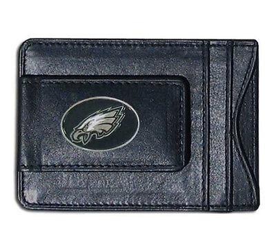 Philadelphia Eagles NFL Football Team Leather Card Holder Money Clip - Philadelphia Eagles Holder