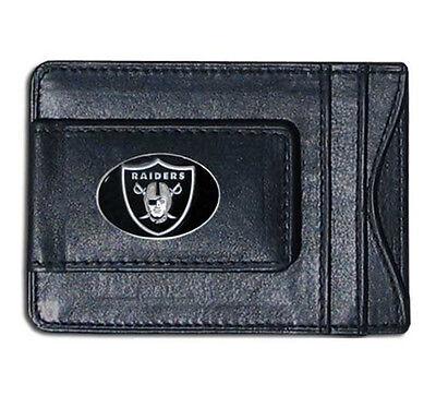 Oakland Raiders NFL Football Team Leather Card Holder Money Clip Wallet ()