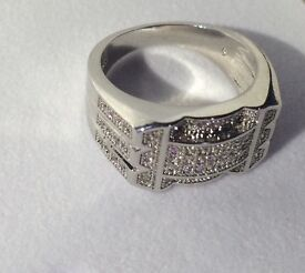 [WHOLESALE] 925 sterling silver mens ring iced out simulated diamonds
