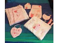 Pink Cot bumper, duvet, nappy holder