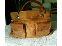 Gorgeous tan leather/hide grab bag