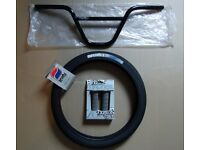 BMX Parts,BSD Handlebars, Snafu Rim Job Tyre(NEW),Macneil Grips(NEW) £30 for lot or sell separately.