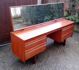 Vintage, Retro Teak William Lawrence Dressing Table / Desk With Original Mirror