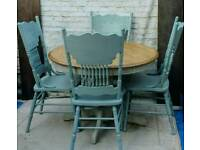 Farmhouse style shabby chic kitchen dining table and 4 chairs