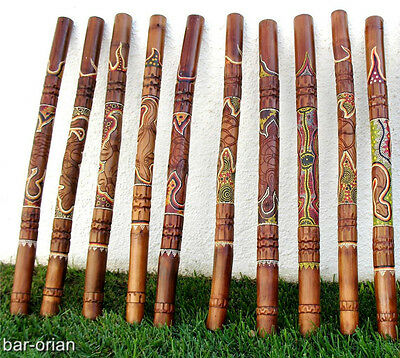 ABORIGINAL DIDGERIDOO LIZARD HANDCARVE & DOT-PAINT+BAG+BEESWAX+FREE WORLD SHIP !