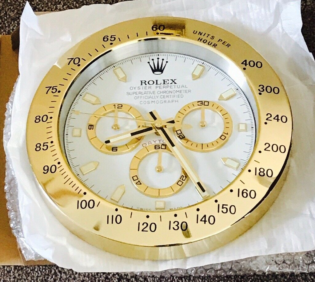 Rolex wall clock top quality large size metal clock daytona rolex wall clock top quality large size metal clock daytona model gold amipublicfo Image collections