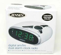 JENSEN Digital AM/FM Clock Radio,Dual Alarm,Sleep Snooze, 3.5 mm Input-Green LED