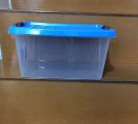 Blue Lid Plastic Tub