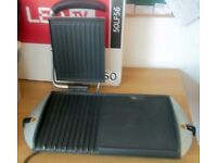 George Foreman Forman large flat griddle grooved grill combi. barbecue or small cafe, steak & burger