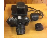 Vintage Zenit EM Body with Case/Strap + Helios Lens + Vivitar 2X Teleconverter
