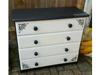 Chest of Drawers Pine - Black and White Bedroom Furniture