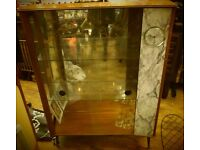 Vintage retro glass cocktail display cabinet.