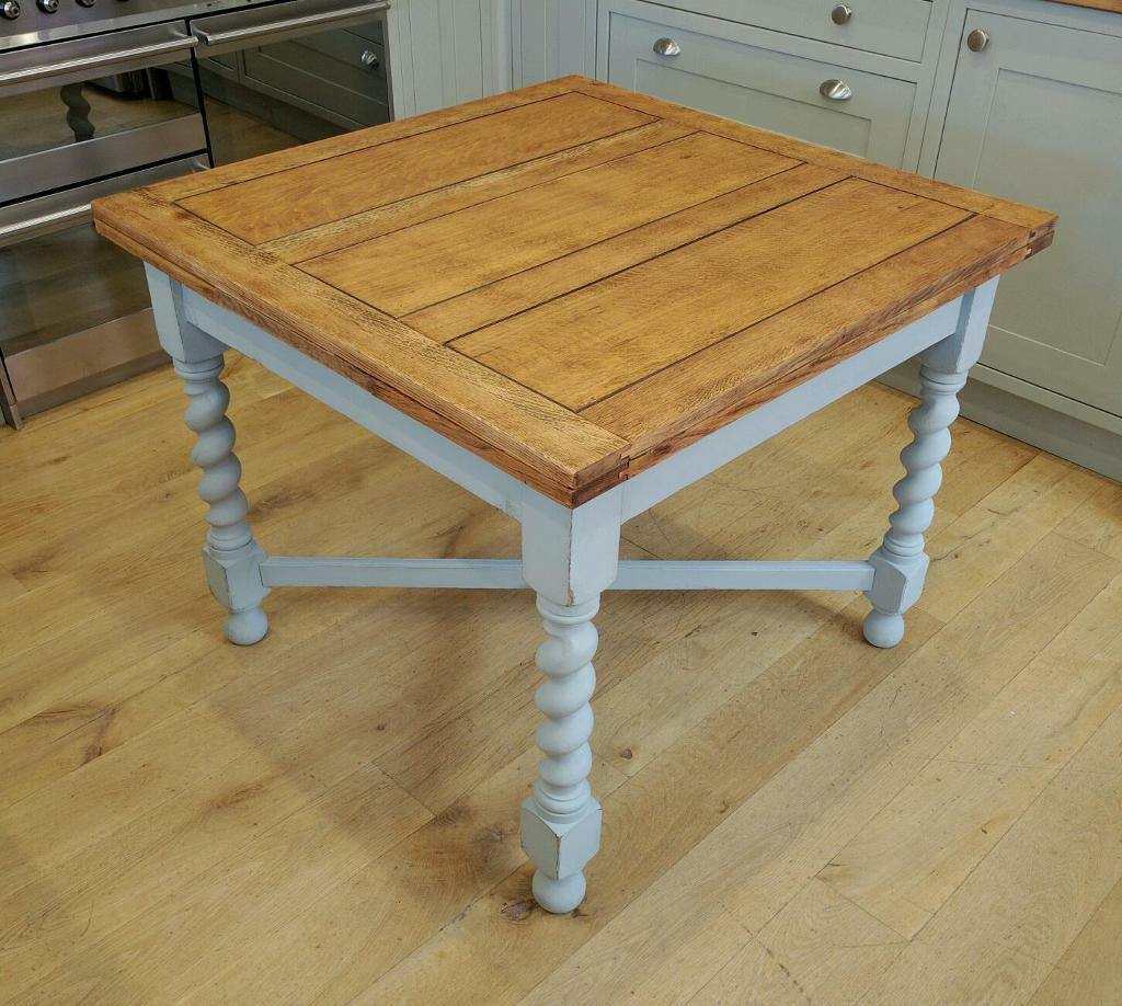 Solid Oak 1940s Draw Leaf Table Extending Dining Kitchen