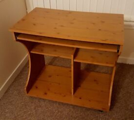 Pine Effect Desk / PC Trolley in Very Good Condition