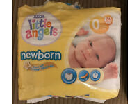 23 Asda Little Angels Newborn Size 0 Nappies. Only 50p!!!!!