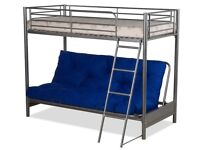 SILVER HIGH SLEEPER BED WITH FUTON THE FUTON IS LIGHTER BLUE WITH YELLOW CHINESE SYMBOLS ON 1 SIDE