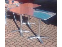 3 Polished Stainless Steel outdoor / indoor tables (60cm x 60cm) in good condition
