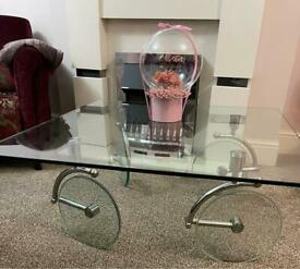 Glass coffee table ☕️, carriage table (Very rare, L@@k)