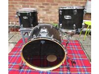 """MAPEX M Series MIDNIGHT BLACK DRUMS 22"""" Bass drum 12"""" & 14"""" toms (NO STANDS OR CYMBALS)"""