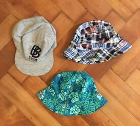 3-6 months baby boy clothes bundle. 3 Sun Hats, 7 Onsies, 1 Swimming Trunks