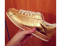 Gold Adidas Superstar size 4 limited edition