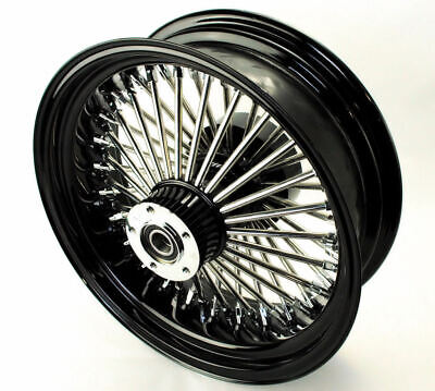 18 X 8.5 Black Chrome 48 Fat King Spoke Rear Wheel Harley Custom Chopper -
