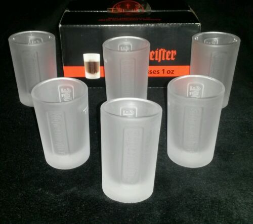Jagermeister NEW BNIB Set of 6 Frosted Jagermeister Jager 1 OZ SGlasses Party Time