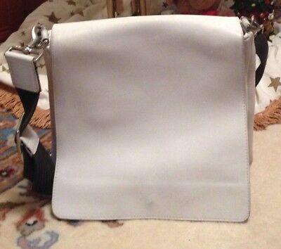 -  Coach flap shoulder bag Genuine leather white w black strap shoulderbag  #9432