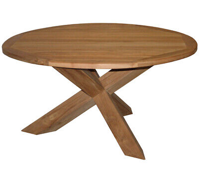 KMH® Teak Gartentisch Ø 150 cm Teaktisch Gartenmöbel Holztisch Tisch Esstisch