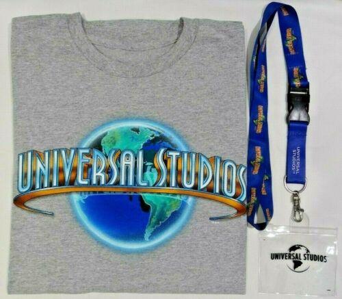 UNIVERSAL STUDIOS MARBLE GLOBE T-SHIRT SIZE MEDIUM & UNIVERSAL STUDIOS LANYARD