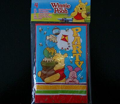 4 Einladungskarten Grußkarten Winnie Pooh Bär Party Geburtstagskarten Disney NEU