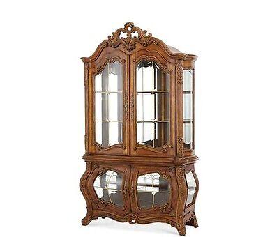 Michael Amini Palais Royale French Rococo Cognac Design Curio Cabinet by AICO