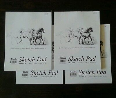 4 x Sketchbook 9 x 12 Inches 40 Sheets Premium Quality Sketch Drawing Paper Pad