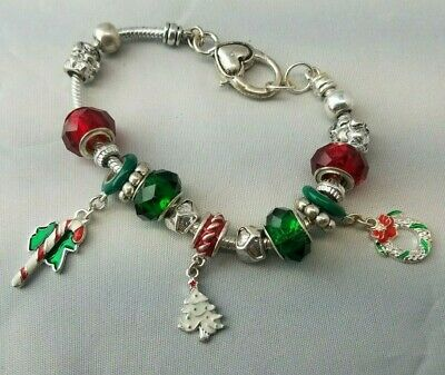 Trendy Heart Silvertone Christmas Theme Charm Bracelet Tree Wreath CandyCane 8