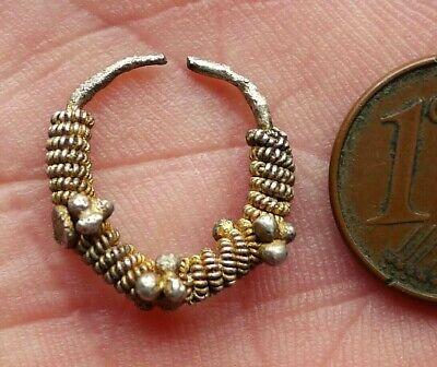 Buckle Ear Silver Tone Filigree & Peach Enamel Jewel Antique Mauritania Africa
