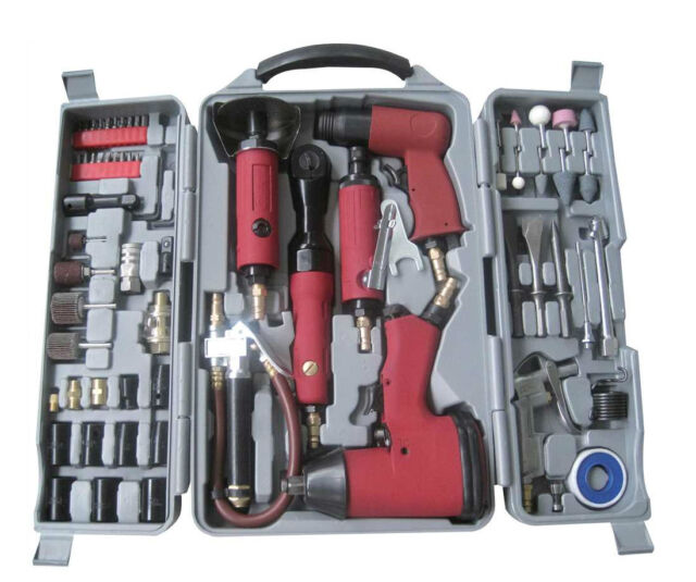77PC Heavy Duty Power Air Gun Tool Kit Ratchet Wrench Grinder Hammer Socket Hex