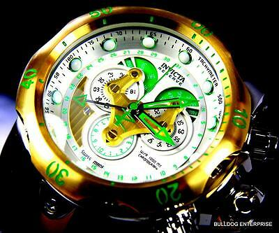 Men Invicta Reserve Venom Swiss Master Calendar Gold Green White Watch New 18535