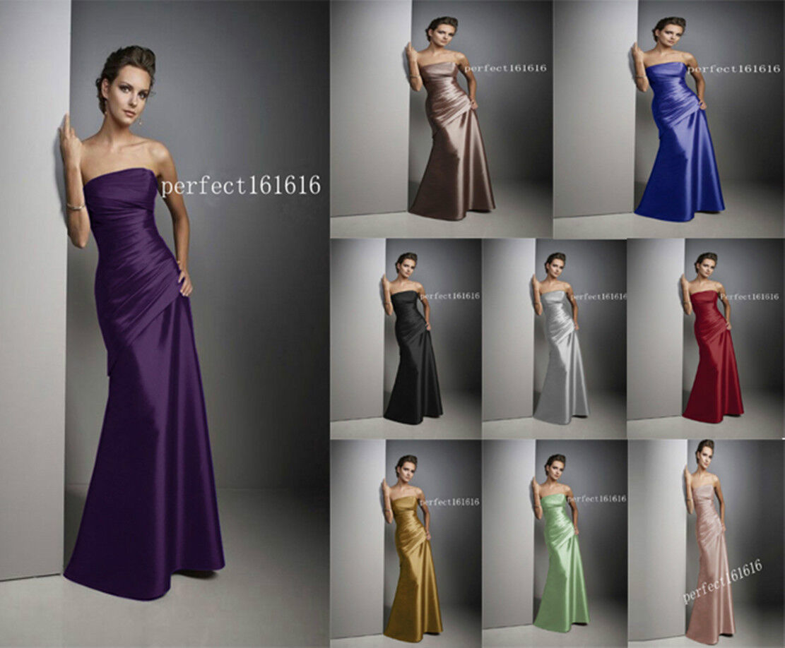9 Colour Satin Dress Formal Prom/Bridesmaid Cocktail Party Evening Dress Sz 2-18