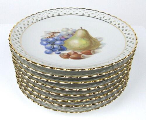 Vintage Schumann Arzberg Handcut China Fruit Plates (8)