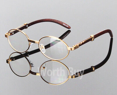 Womens Men Retro Vintage Clear Lens Gold Wood Frame Fashion Designer Eye Glasses