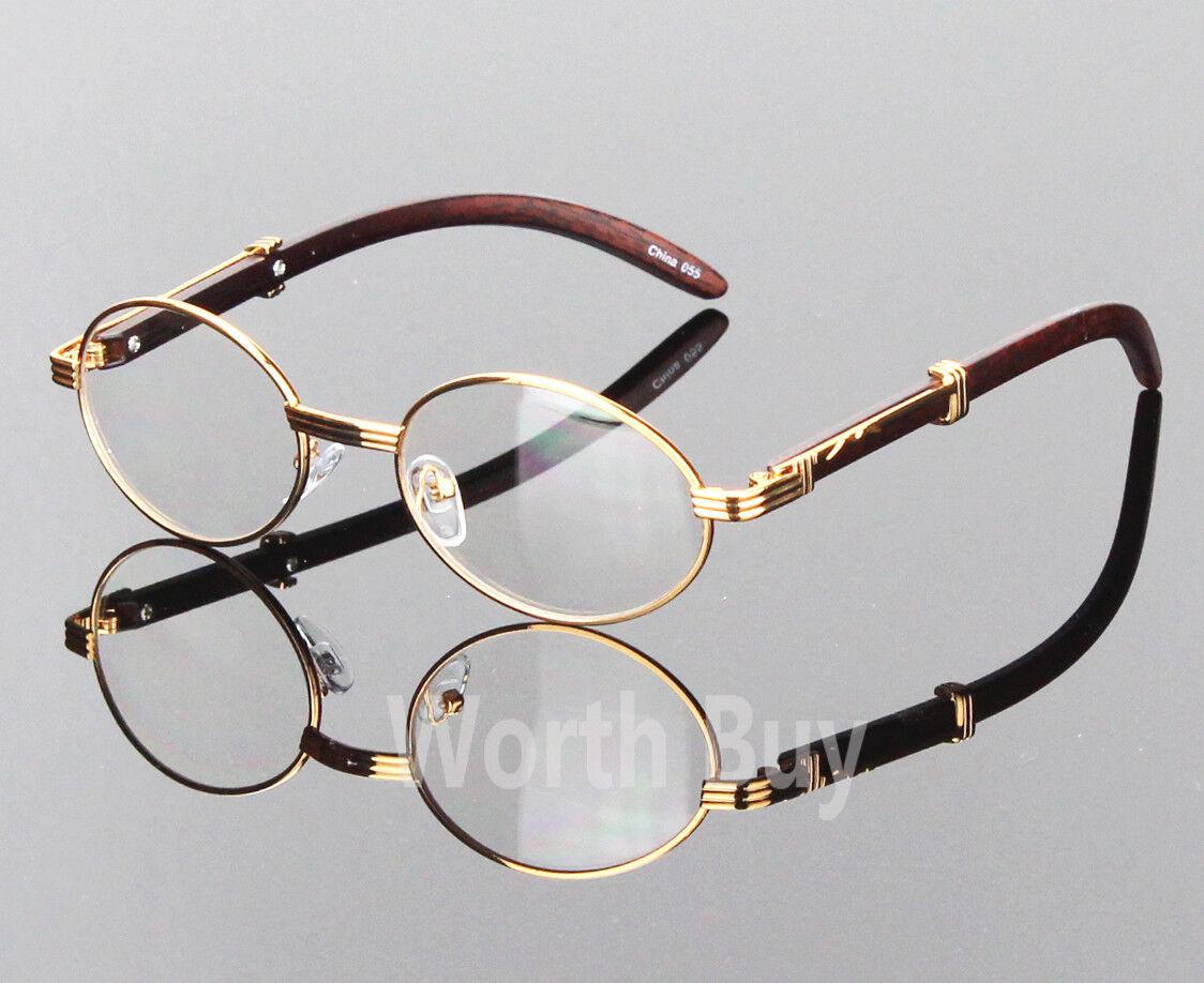 Womens Men Retro Vintage Clear Lens Gold Wood Frame Fashion