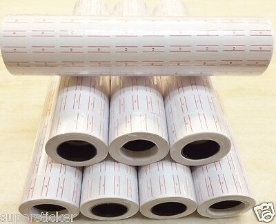 White W/Red line 40K Tags labels Refill for Motex MX-5500 One line Price Gun