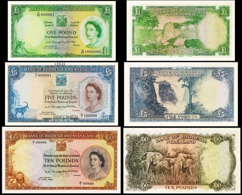 !COPY! RHODESIA AND NYASALAND  £1 1957 £5 1956 £10 1960 BANKNOTES !NOT REAL!