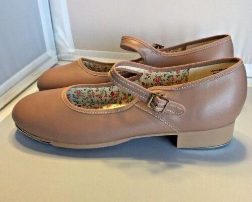 "Capezio 3800 Mary Jane Tan Tap Shoes 10 M Tele Tone Taps 1"" Heel"